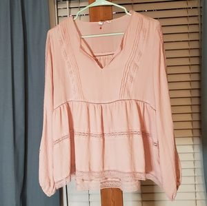 Gap Embroidered Blush Lace Peasant Blouse